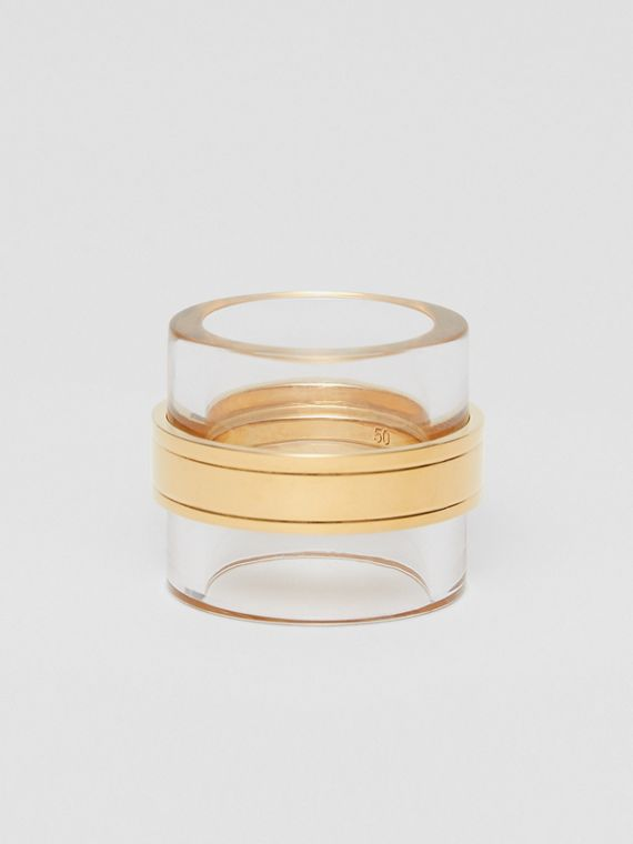 Resin and Gold-plated Cylindrical Ring in Light Gold/beige