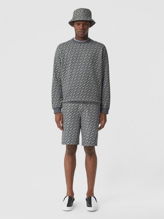 Baumwollsweatshirt mit Monogrammmuster (Mittelgrau)
