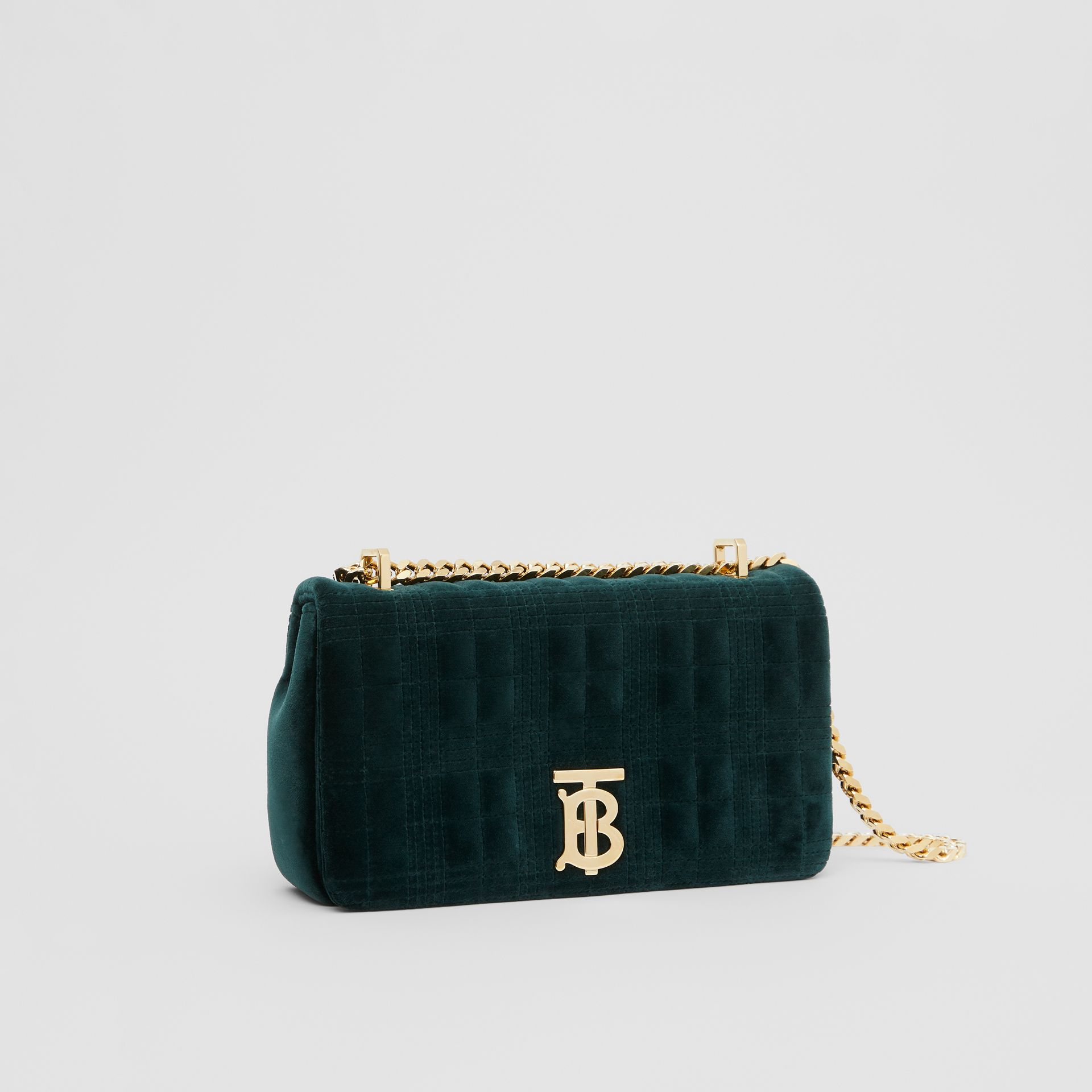 Small Quilted Velvet Lola Bag in Dark Green - Women | Burberry - gallery image 6