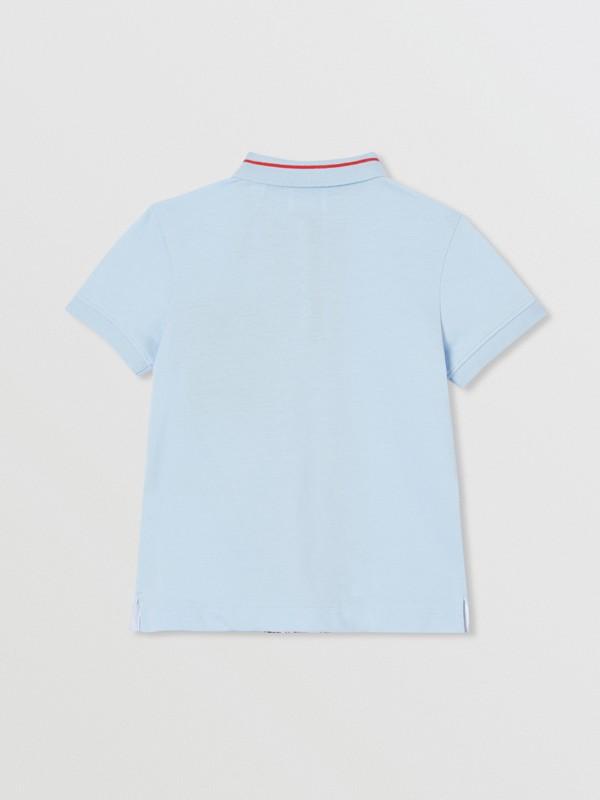 Monogram Stripe Print Cotton Piqué Polo Shirt in Pale Blue   Burberry Hong Kong S.A.R - cell image 3
