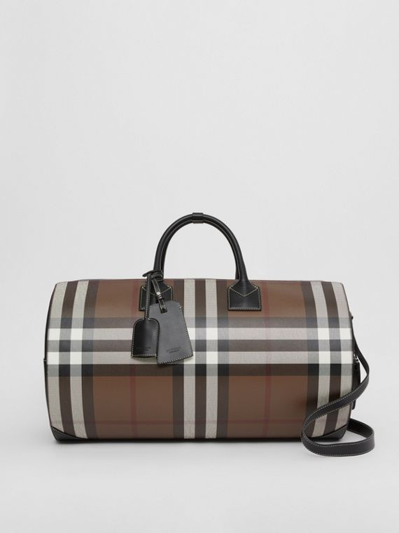 Large Check Print Leather Barrel Bag in Dark Birch Brown