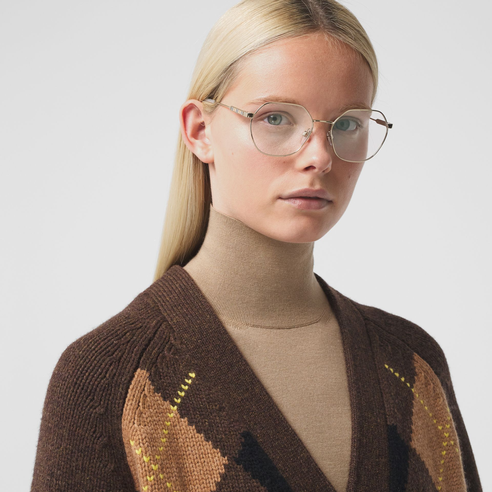 Geometric Optical Frames in Pearl - Women | Burberry - gallery image 2