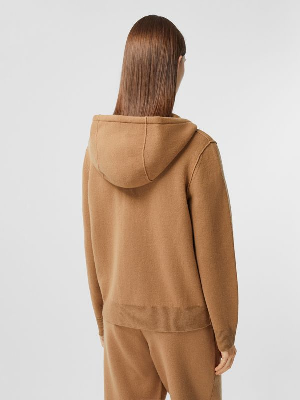 Monogram Motif Cashmere Blend Hooded Top in Camel - Women | Burberry - cell image 2