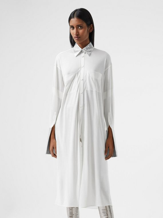Mirrored Cotton Trim Silk Jersey Oversized Shirt Dress in Optic White