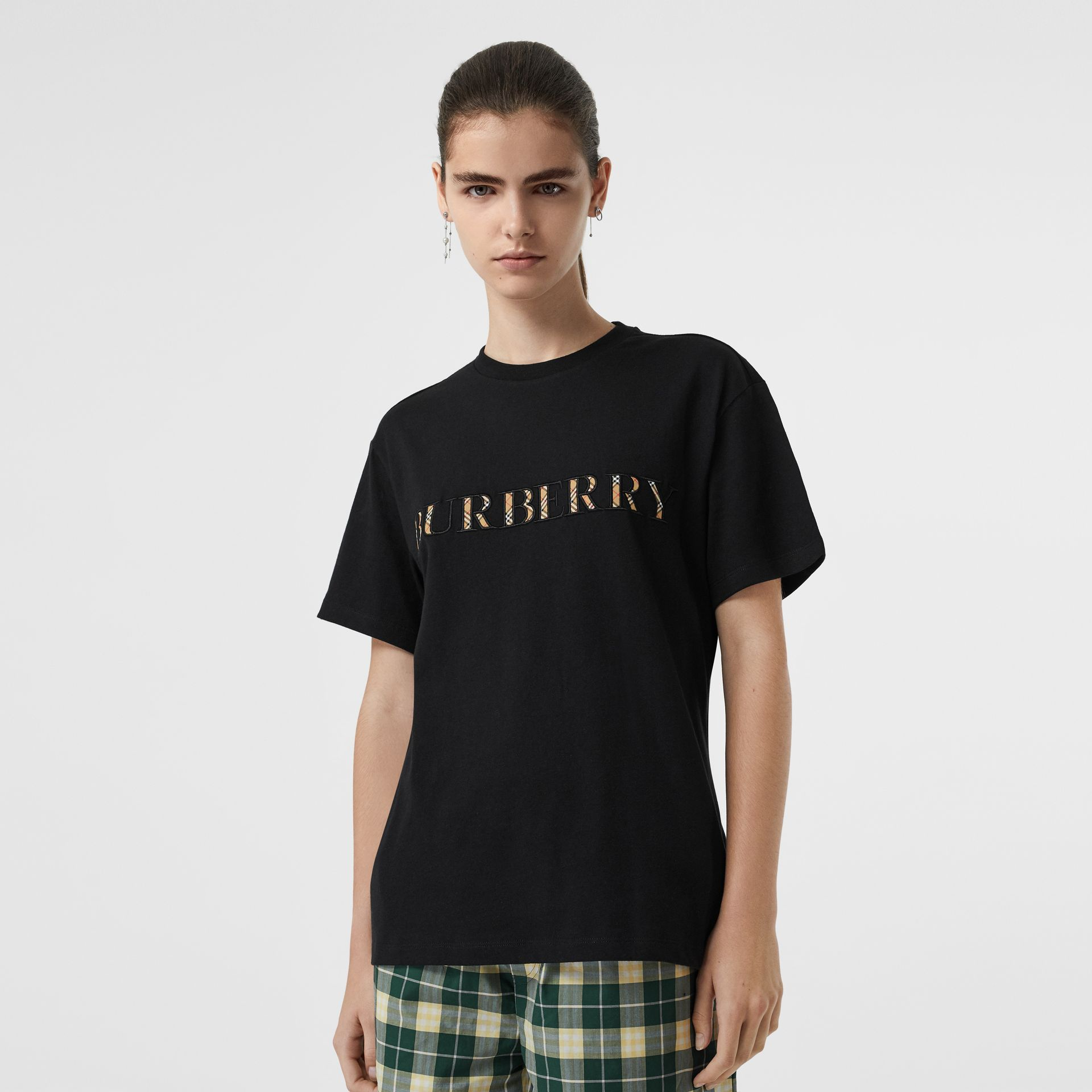 Embroidered Check Logo Cotton T-shirt in Black - Women | Burberry - gallery image 0