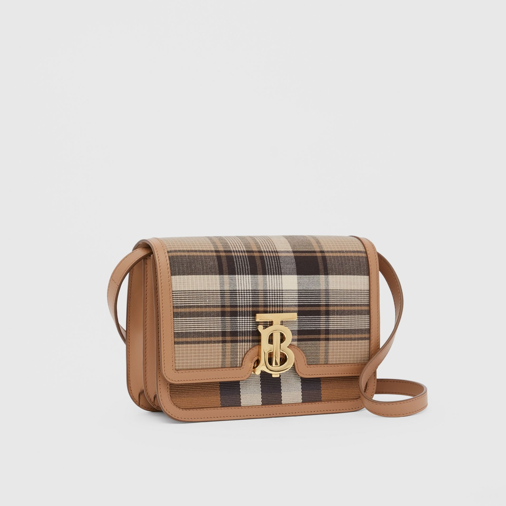 Small Tartan Wool and Leather TB Bag in Light Fawn - Women | Burberry Australia - gallery image 6