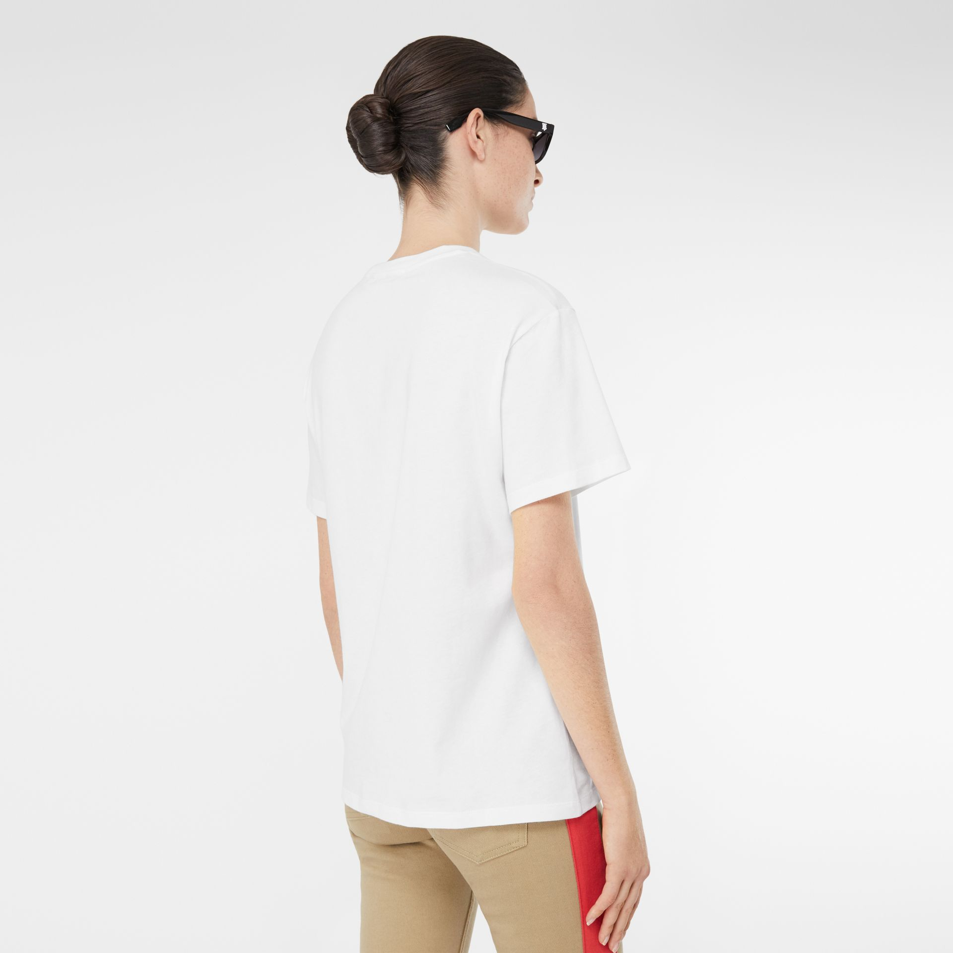 Embroidered Check Logo Cotton T-shirt in White - Women | Burberry - gallery image 1