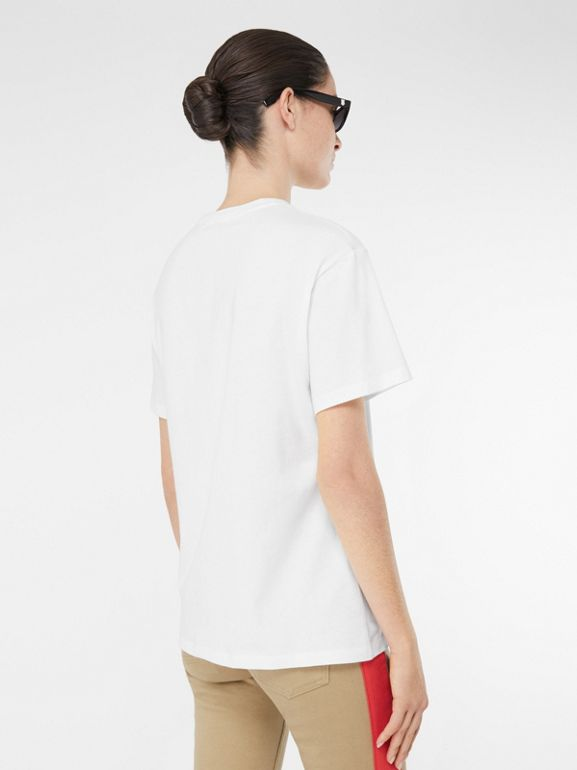 Embroidered Check Logo Cotton T-shirt in White - Women | Burberry - cell image 1