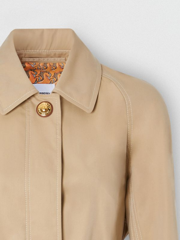 Custom Fit Tropical Gabardine Belted Car Coat in Honey - Women | Burberry - cell image 2