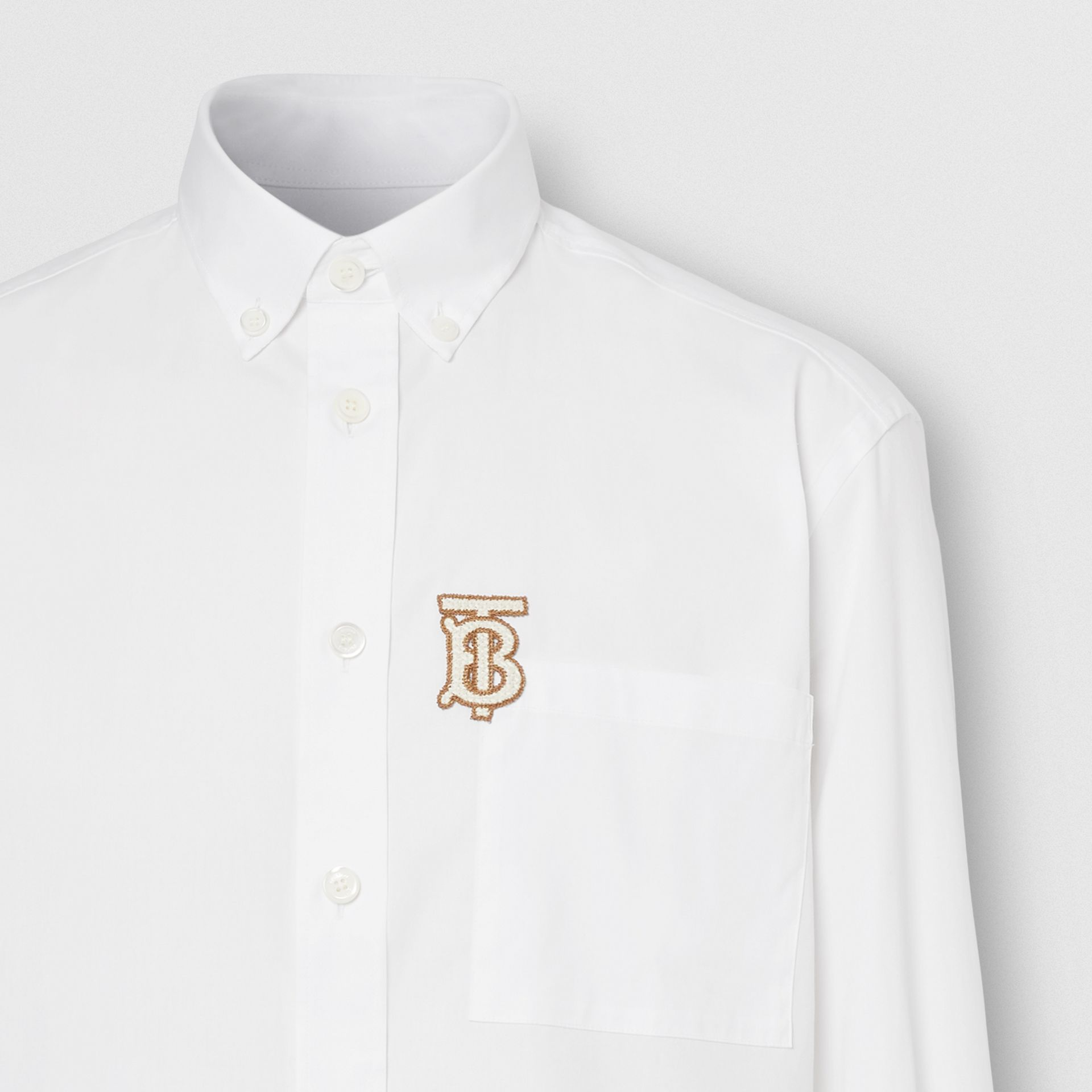 Monogrom Motif Stretch Cotton Poplin Shirt in White - Men | Burberry Hong Kong S.A.R. - gallery image 7