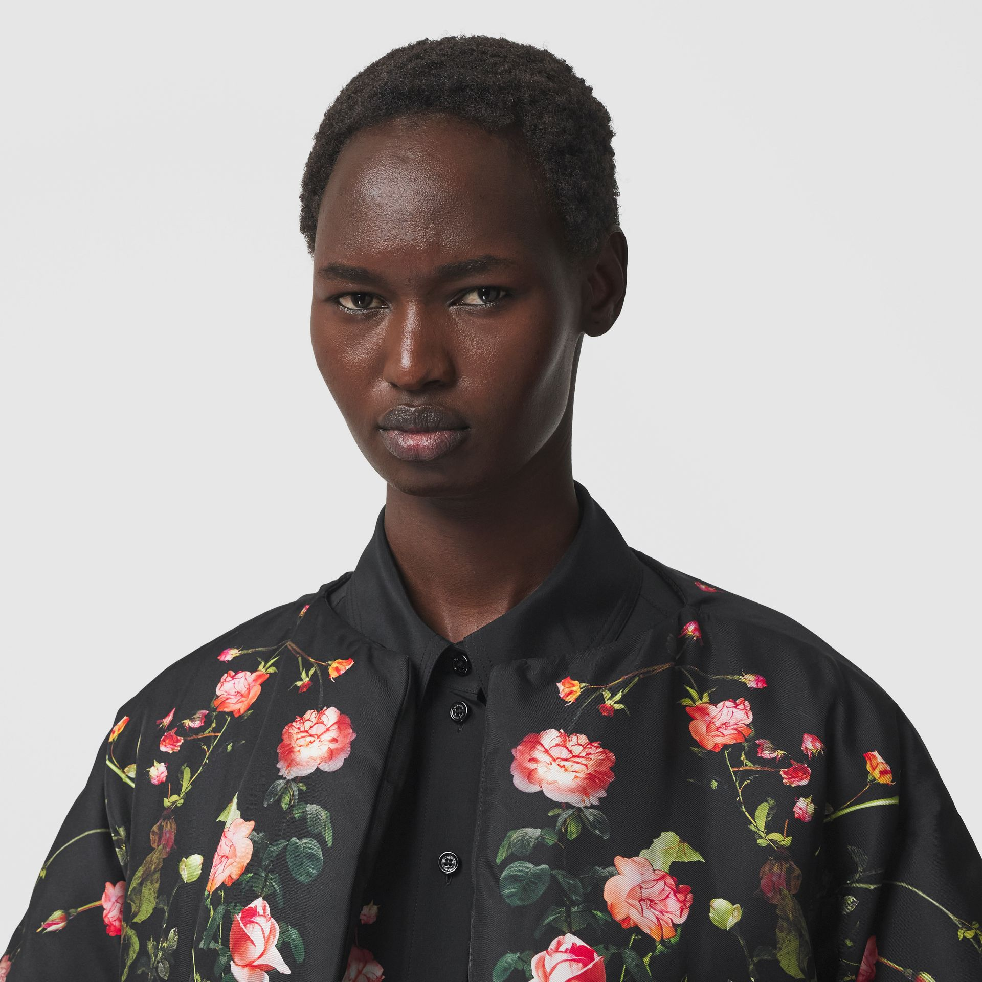 Rose Print Silk Cape in Black - Women | Burberry - gallery image 1