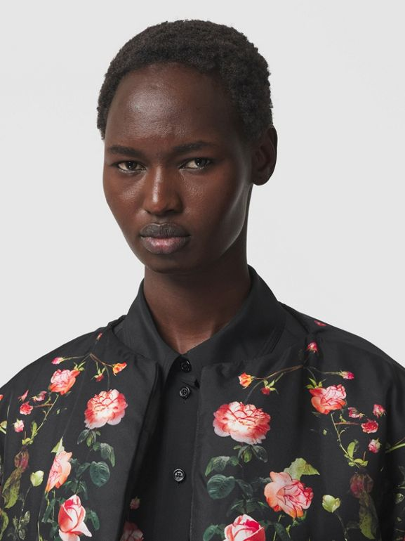 Rose Print Silk Cape in Black - Women | Burberry - cell image 1