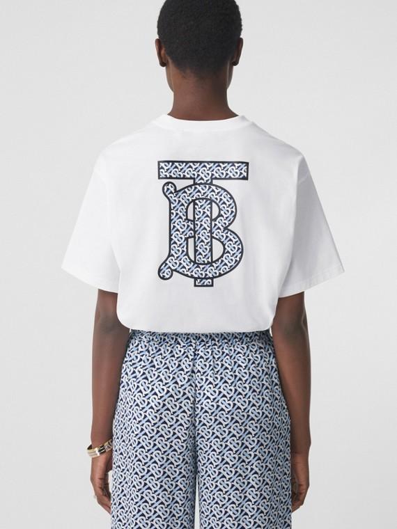 Monogram Motif Cotton Oversized T-shirt in White