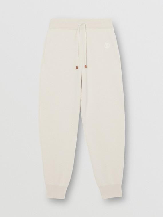 Pantaloni da jogging in misto cashmere con monogramma (Écru)