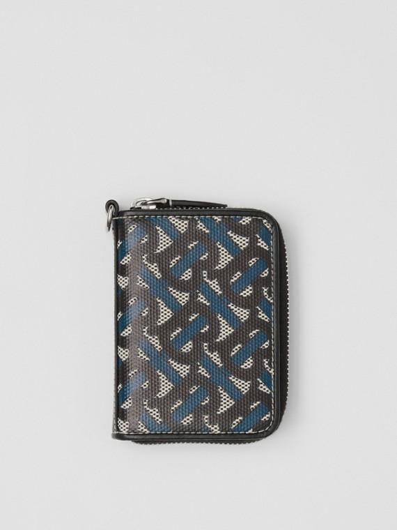 Porta carte di credito in tela di cotone con stampa monogramma e cordino (Blu Inchiostro)