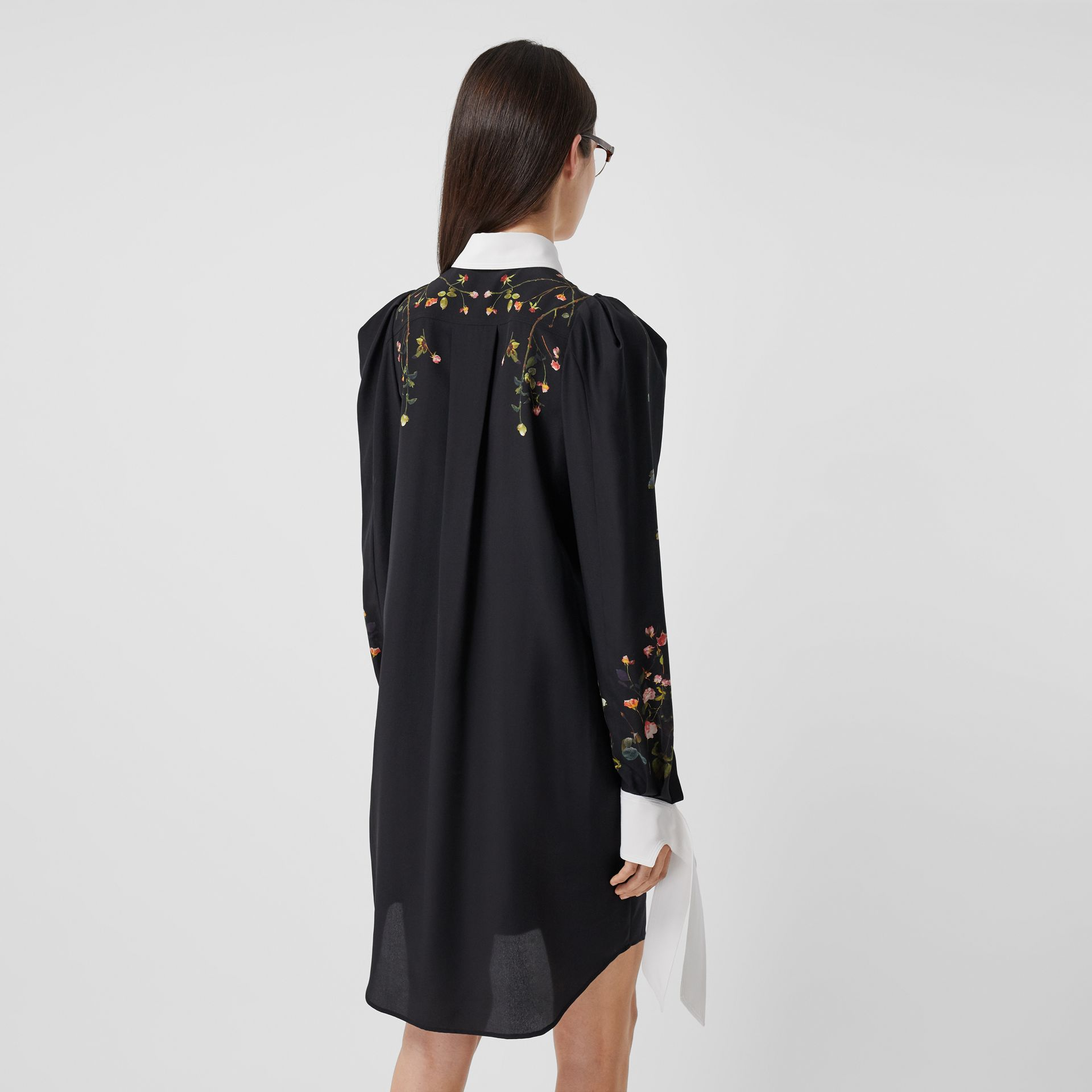 Rose Print Silk Crepe De Chine Shirt Dress in Black - Women | Burberry - gallery image 2