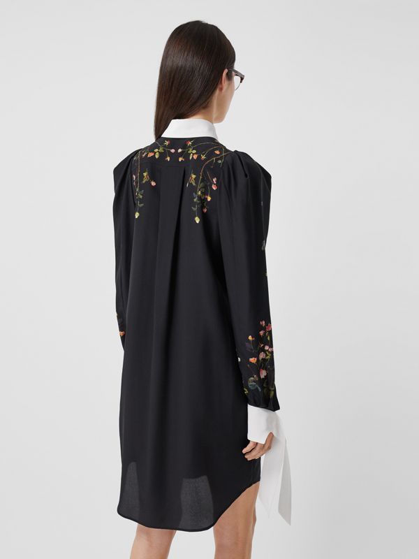 Rose Print Silk Crepe De Chine Shirt Dress in Black - Women | Burberry - cell image 2