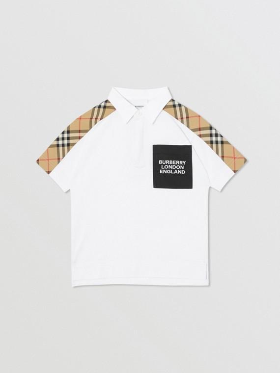 Vintage Check Panel Cotton Piqué Polo Shirt in White