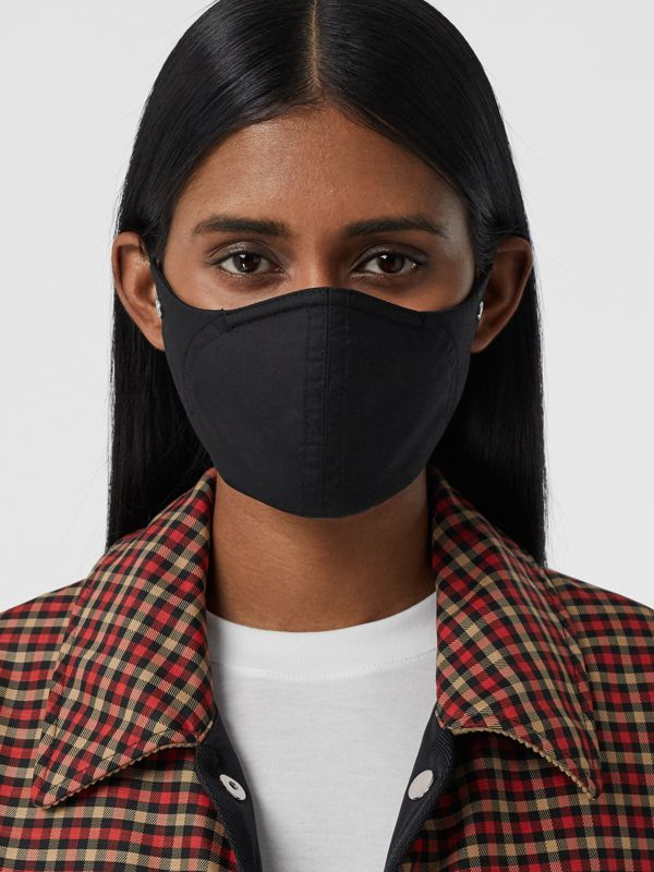 Logo Detail Cotton Face Mask in Black | Burberry - cell image 2