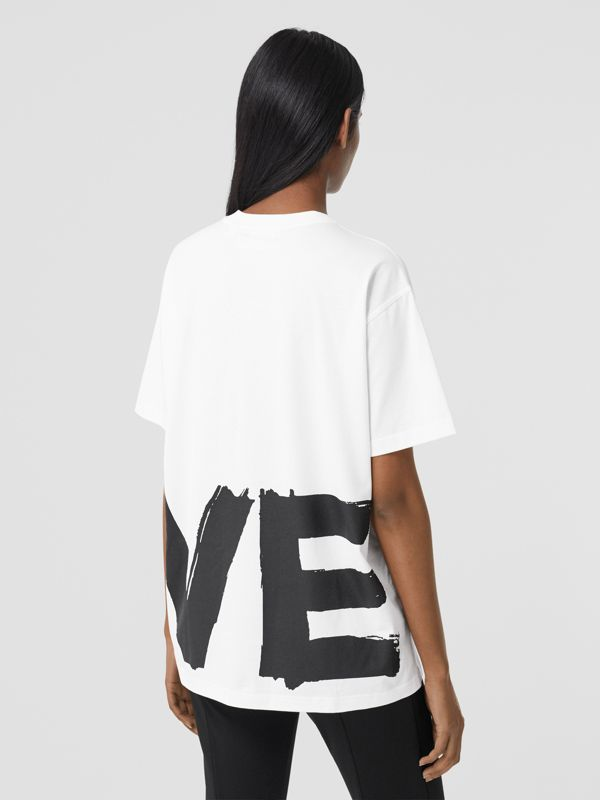 Love Print Cotton Oversized T-shirt in White - Women | Burberry - cell image 2