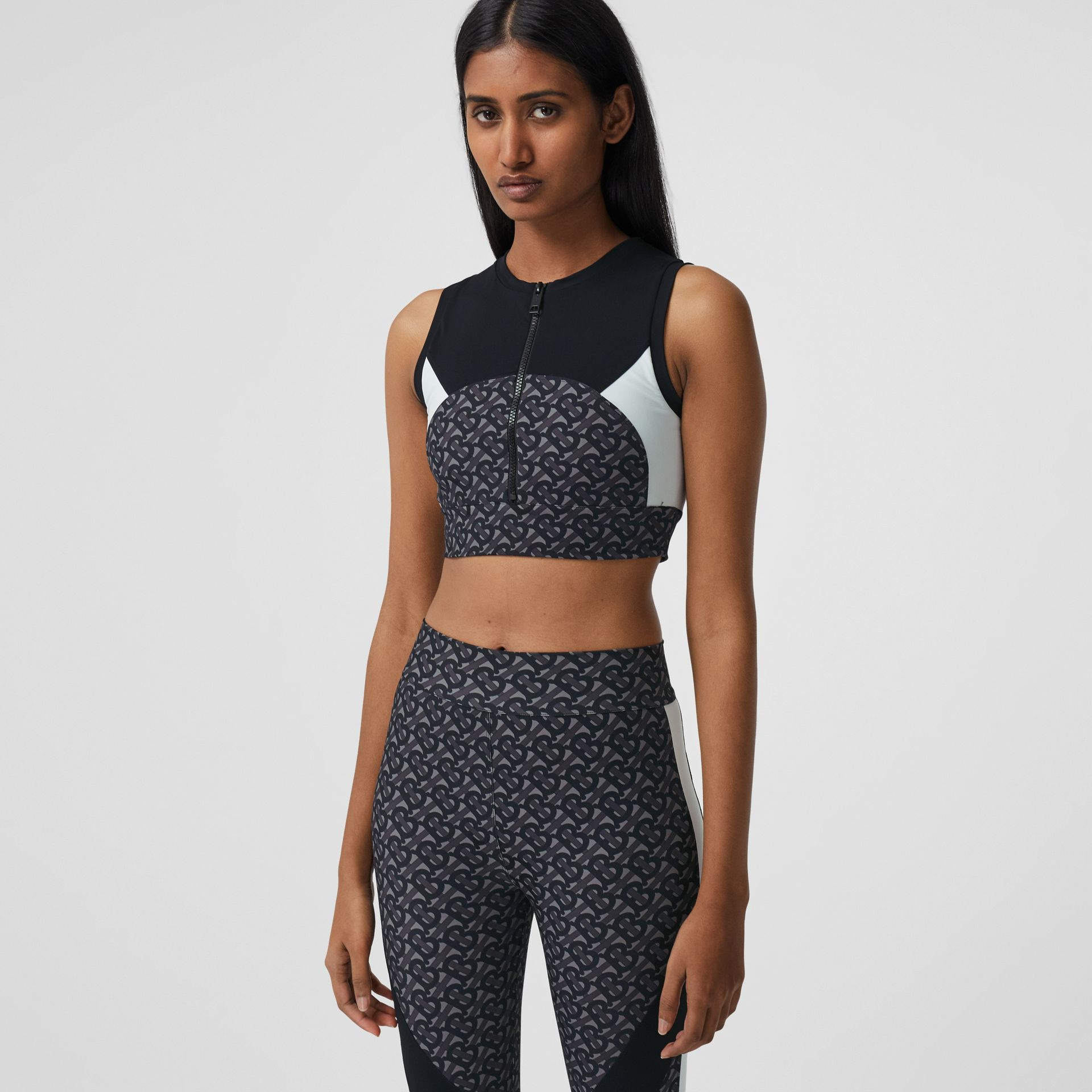 Colour Block Monogram Print Cropped Top in Graphite - Women | Burberry - gallery image 4
