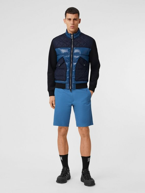 Logo Appliqué Cotton Twill Chino Shorts in Dark Cerulean Blue