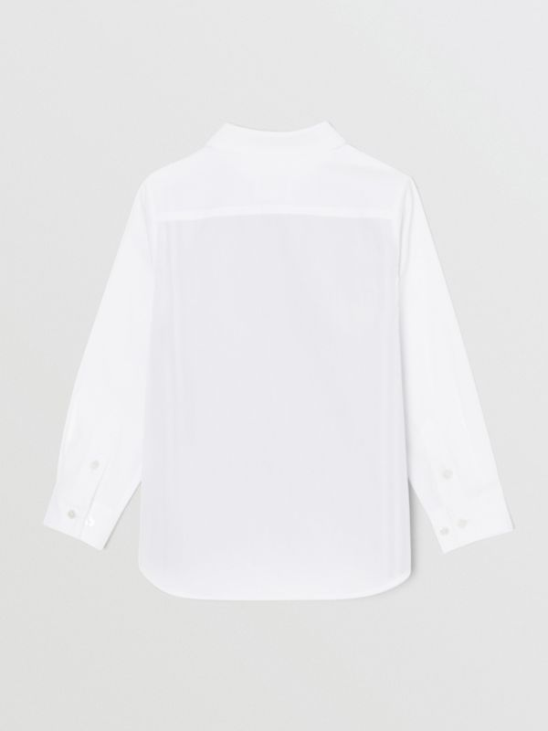 Camicia in cotone stretch con iconico motivo a righe (Bianco) | Burberry - cell image 3