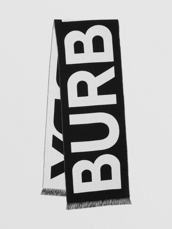 ロゴ ウール ジャカードスカーフ (ブラック)