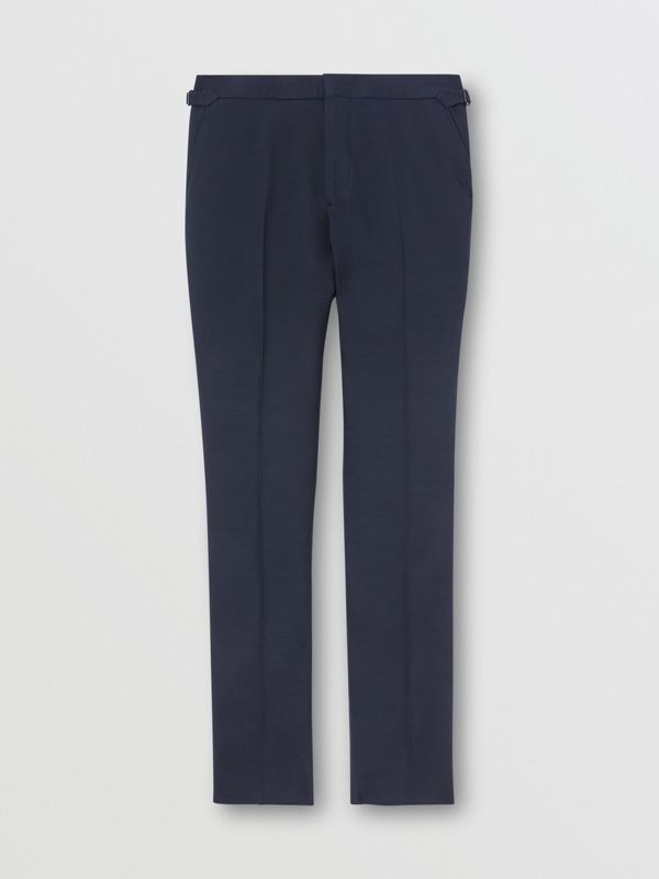 Classic Fit Wool Silk Blend Tailored Trousers in Navy - Men | Burberry - cell image 3