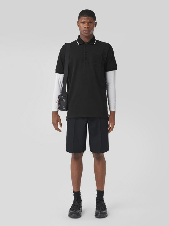 Letter Graphic Cotton Piqué Oversized Polo Shirt in Black