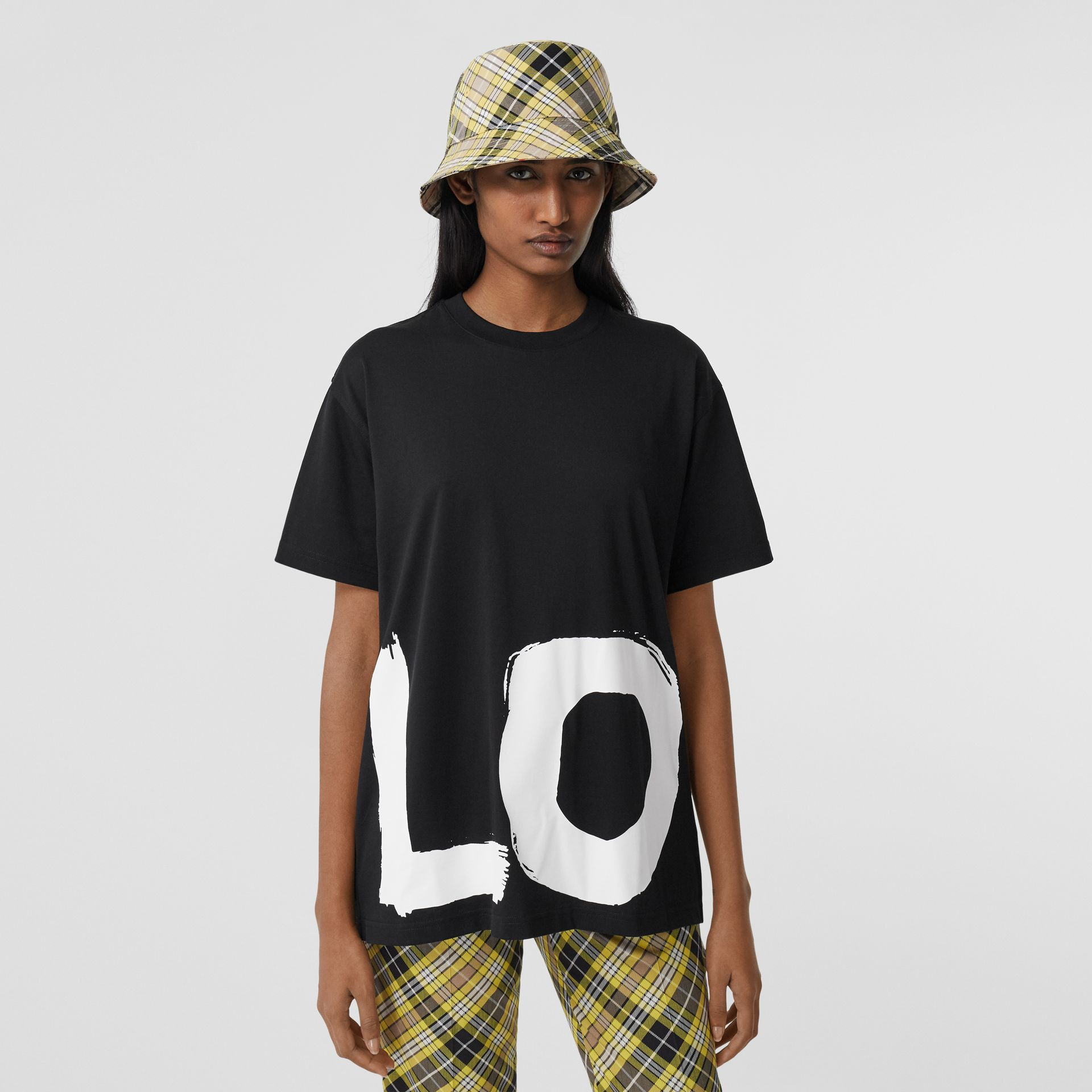 Love Print Cotton Oversized T-shirt in Black - Women | Burberry - gallery image 6