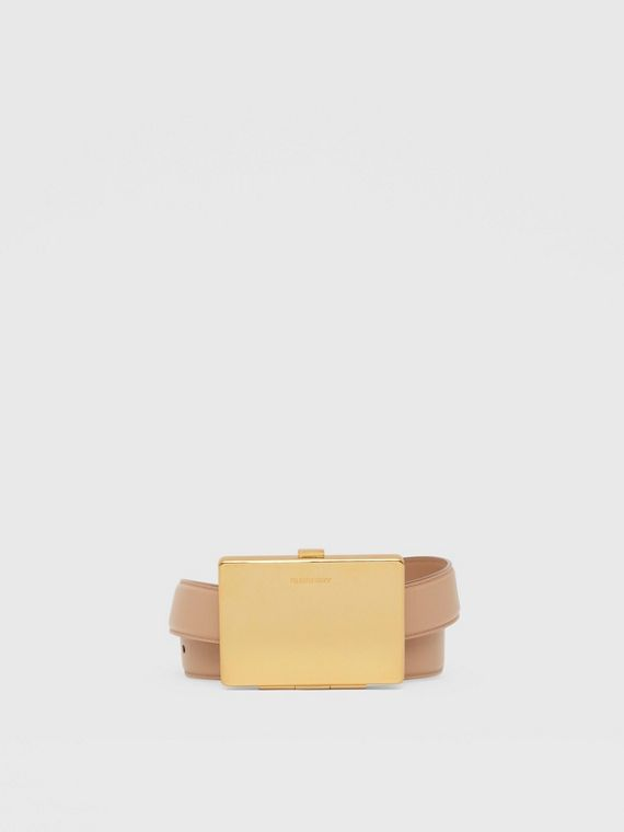 Card Case Detail Leather Belt in Biscuit