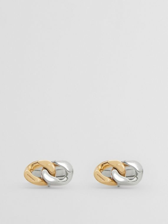 Gold and Palladium-plated Chain-link Cufflinks in Antique Gold/silver