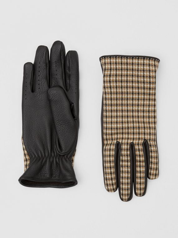 Cashmere-lined Lambskin and Check Wool Gloves in Brown