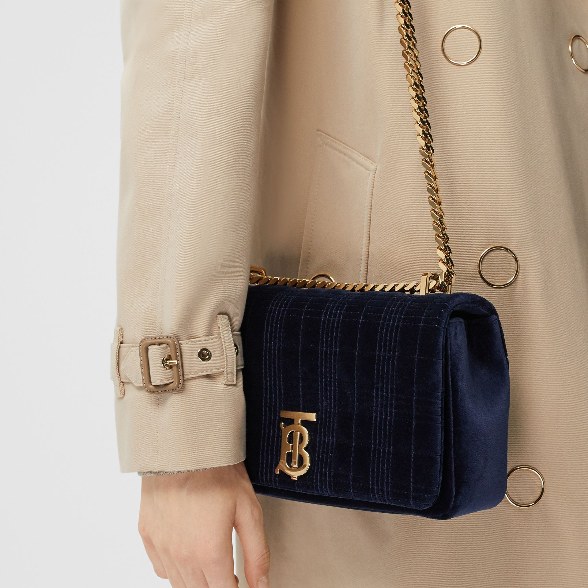 Small Quilted Velvet Lola Bag in Navy - Women | Burberry Australia - gallery image 8