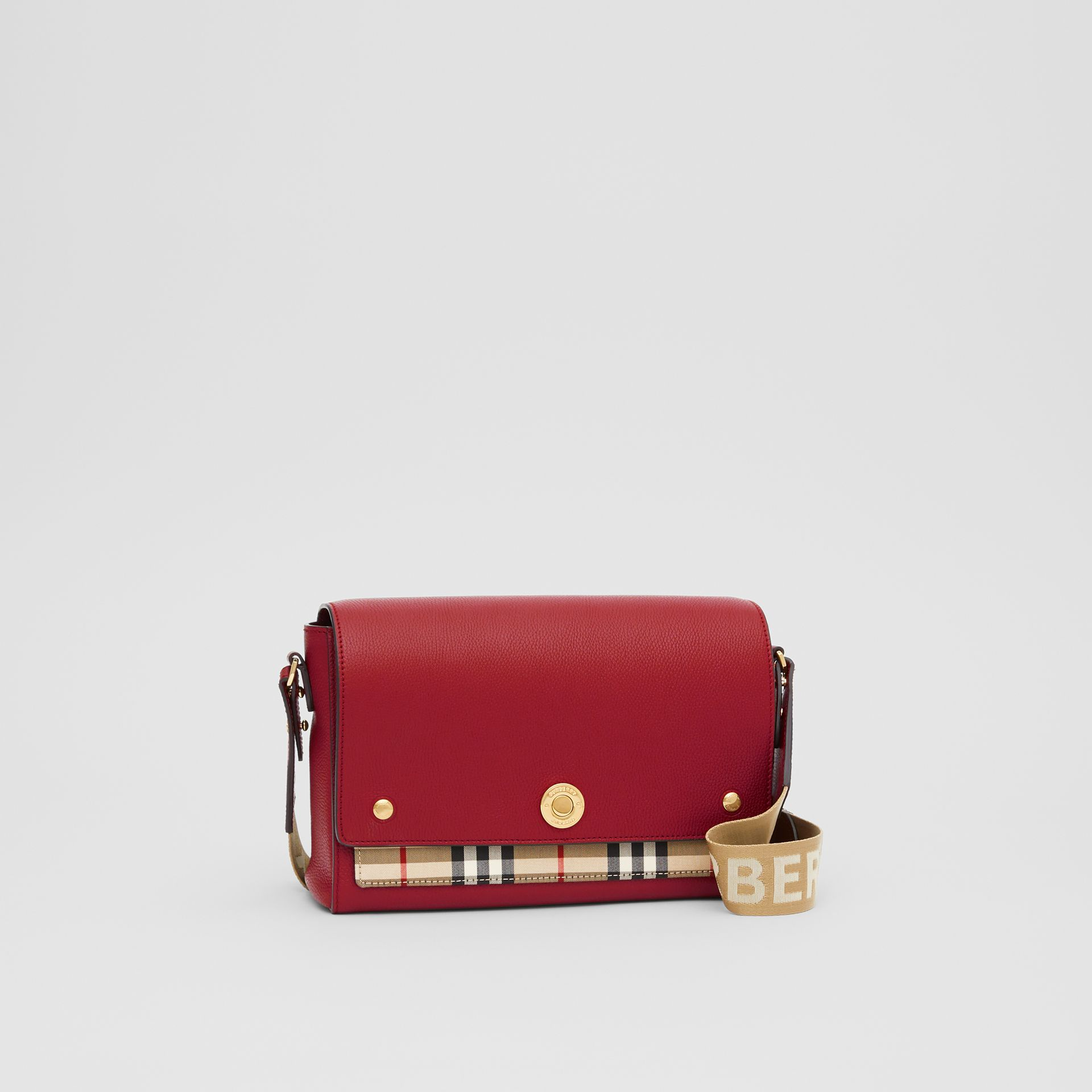 Leather and Vintage Check Note Crossbody Bag in Dark Carmine - Women | Burberry United States - gallery image 6