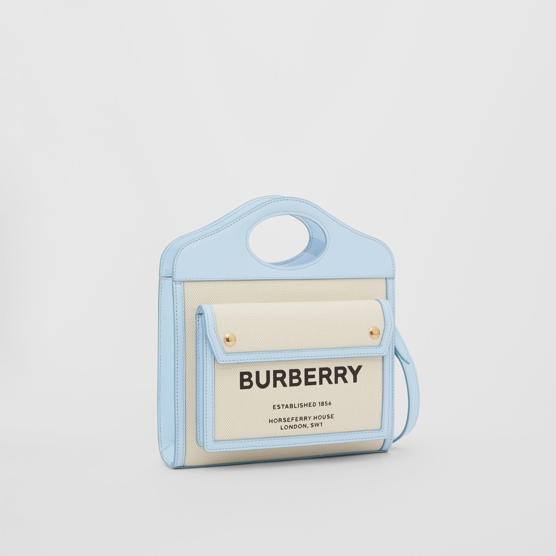 Mini Two-tone Canvas and Leather Pocket Bag in Natural/pale Blue | Burberry United States - gallery image 6