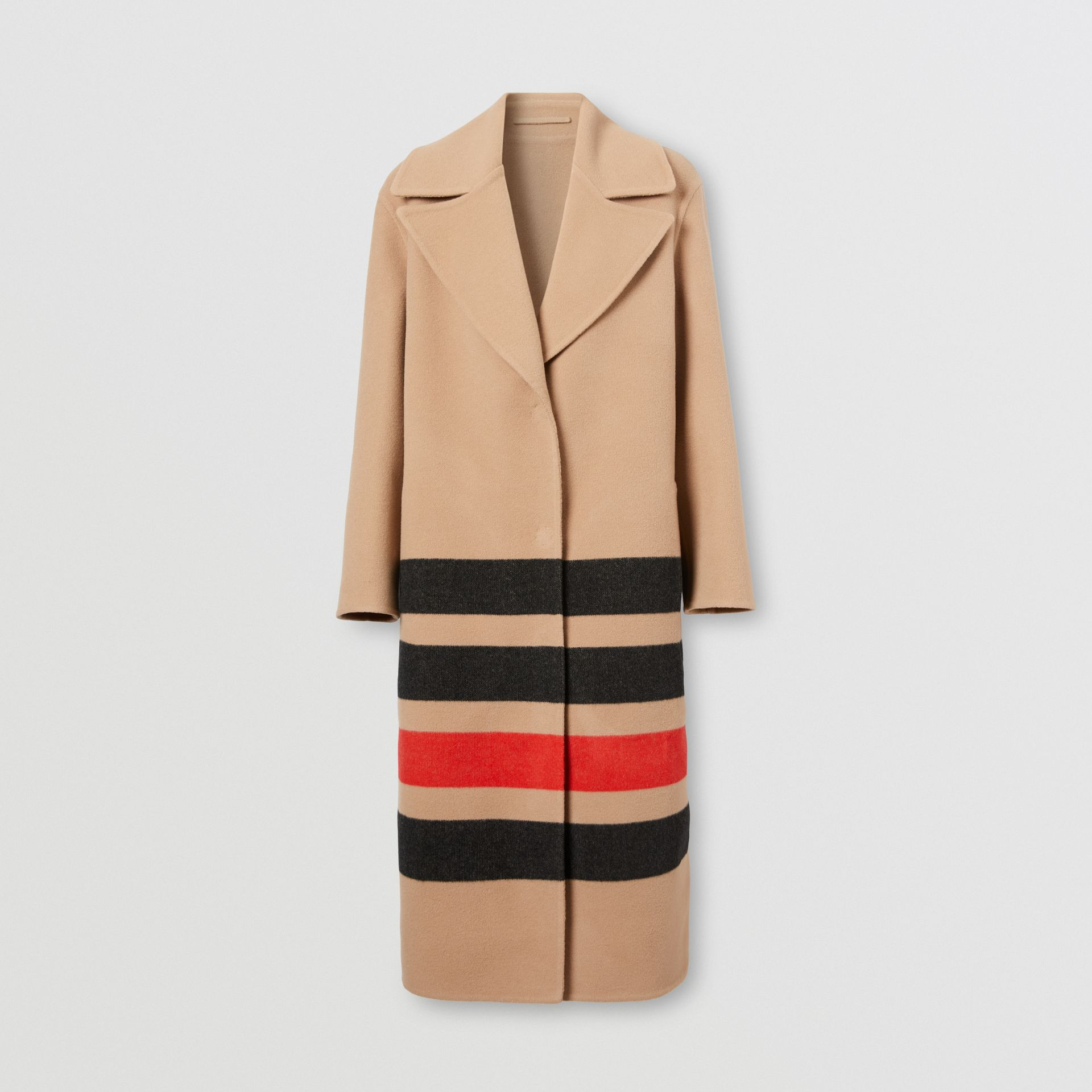 Stripe Detail Double-faced Wool Coat in Light Camel - Women | Burberry - gallery image 3