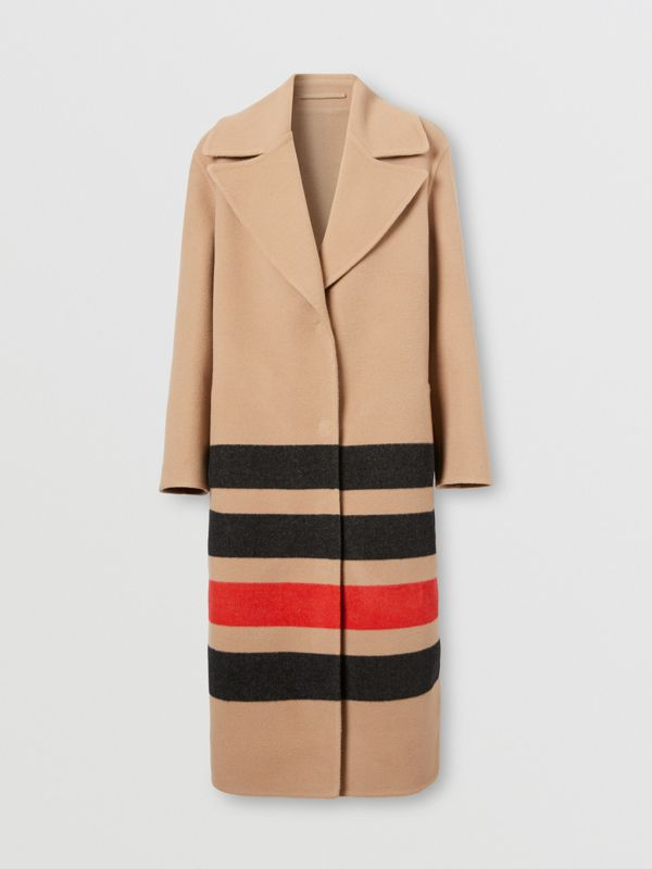 Stripe Detail Double-faced Wool Coat in Light Camel - Women | Burberry - cell image 3