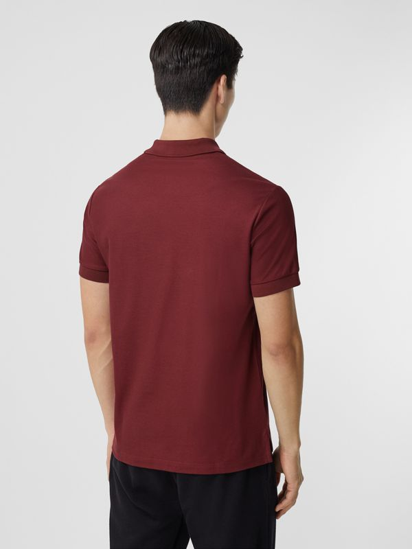 Monogram Motif Cotton Piqué Polo Shirt in Garnet - Men | Burberry - cell image 2