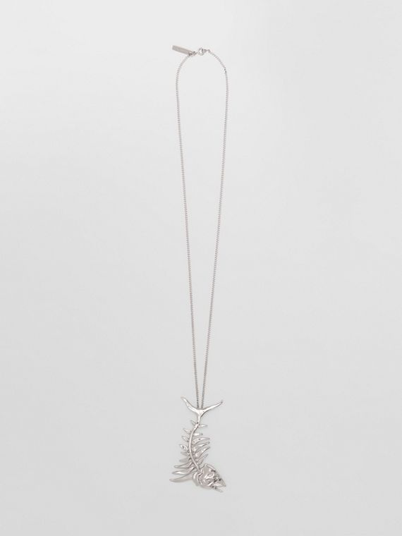 Fish Bone Detail Palladium-plated Chain-link Necklace