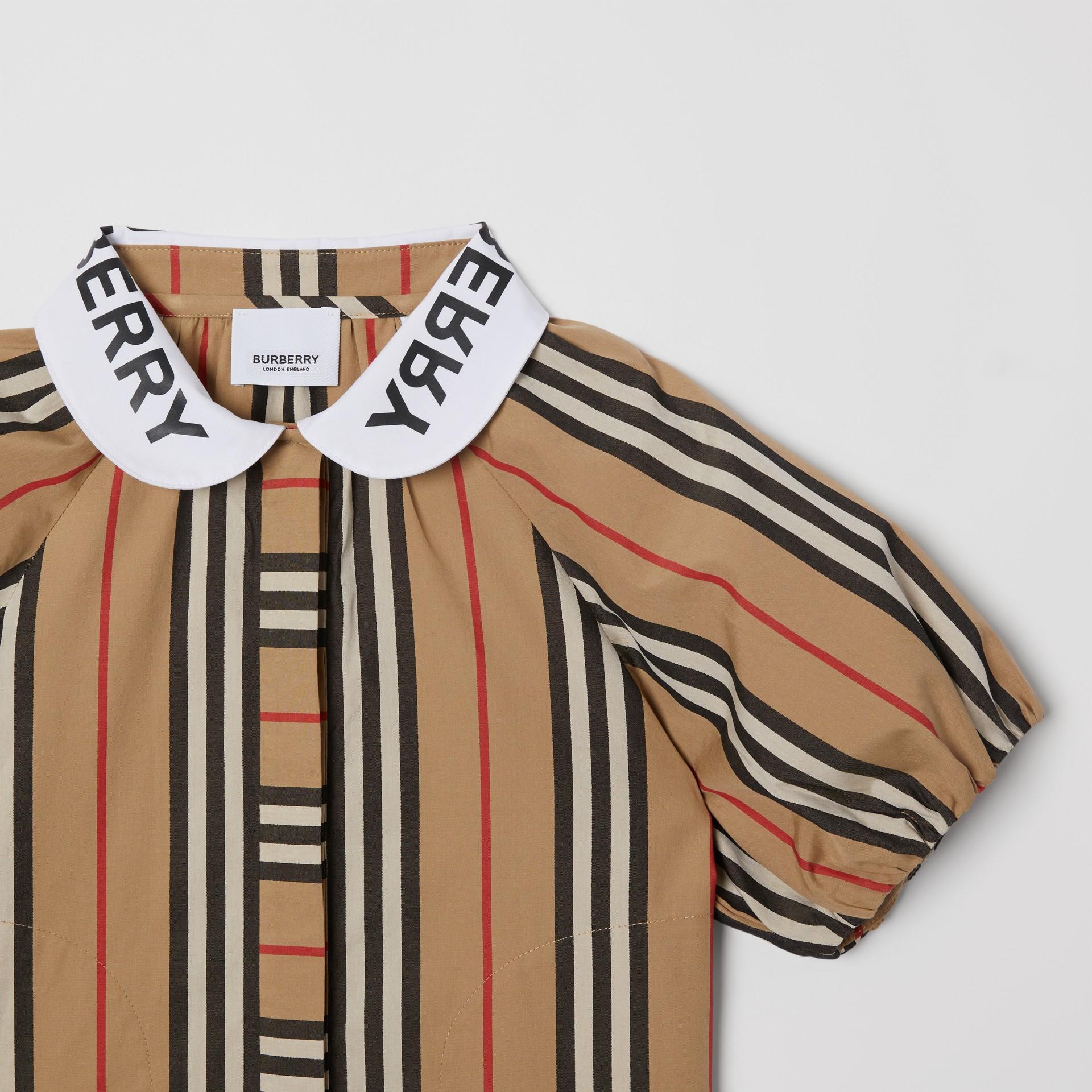 Logo Print Puff-sleeve Icon Stripe Cotton Blouse | Burberry United Kingdom - gallery image 2
