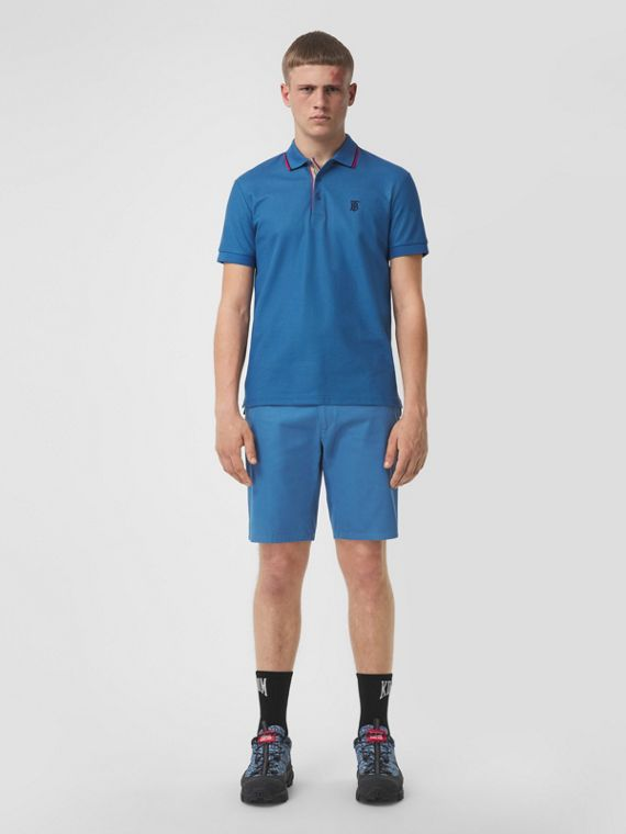 Logo Appliqué Cotton Twill Chino Shorts in Dark Cerulean Blue
