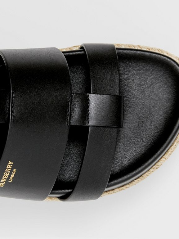 Logo Embossed Leather and Jute Sandals in Black - Women | Burberry - cell image 1