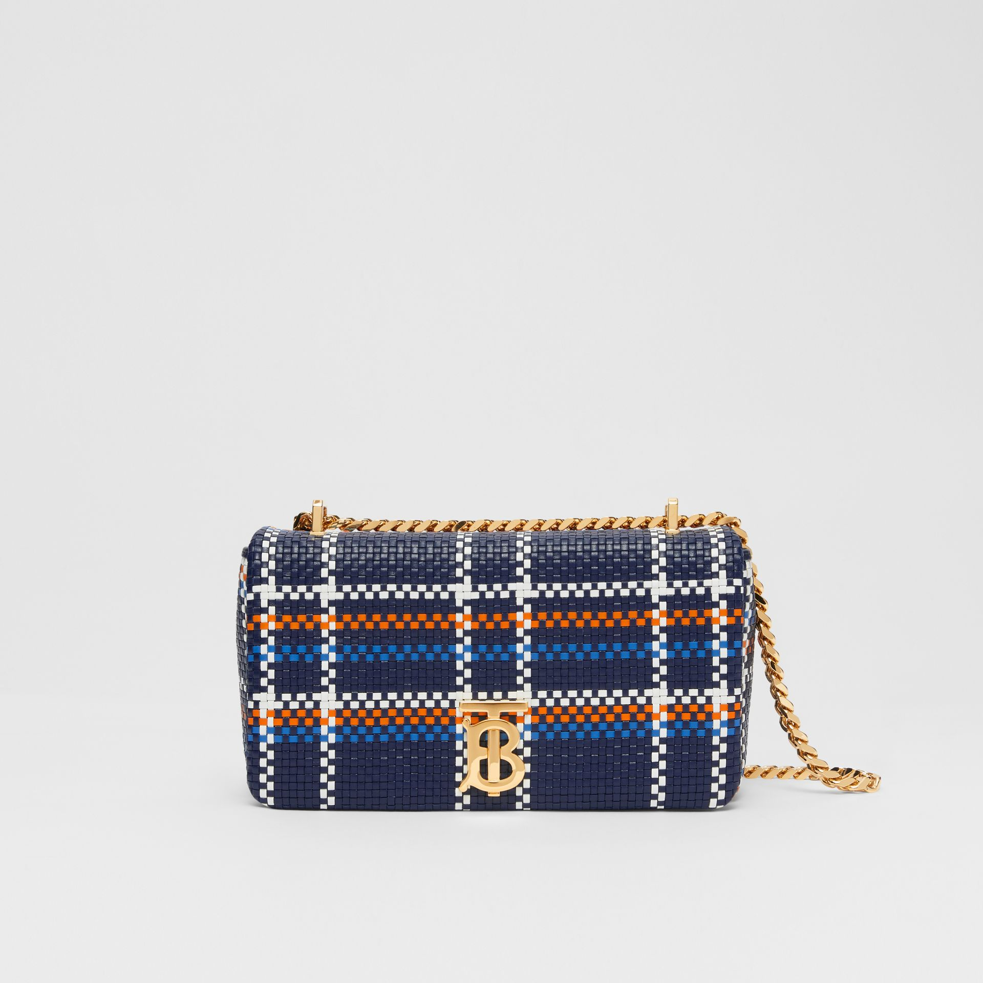 Small Latticed Leather Lola Bag in Blue/white/orange - Women | Burberry Canada - gallery image 0