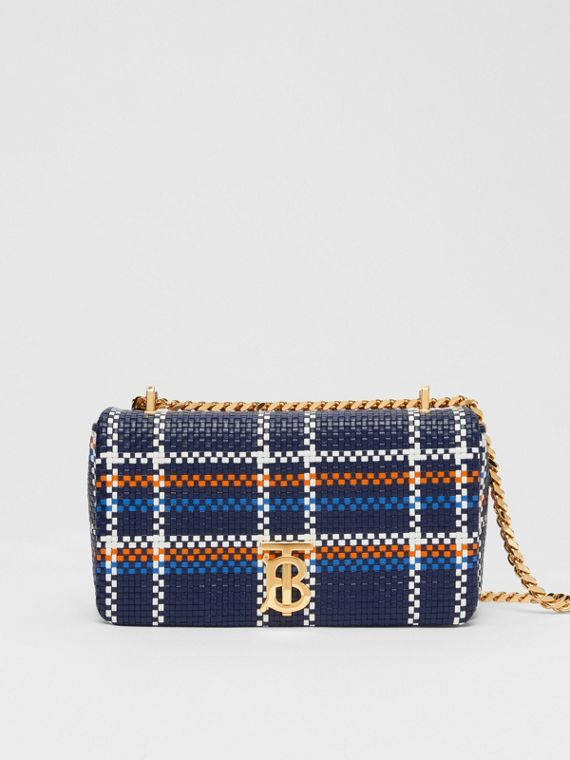 Small Latticed Leather Lola Bag in Blue/white/orange