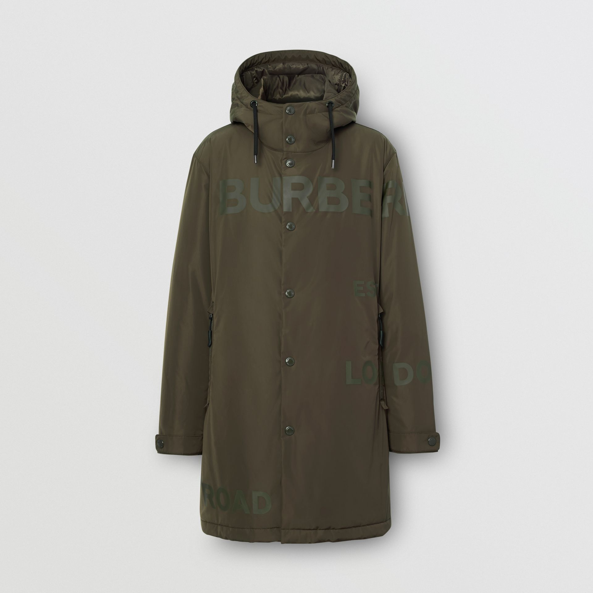 Cappotto con cappuccio in taffetà a memoria di forma con stampa Horseferry (Cachi) - Uomo | Burberry - immagine della galleria 3