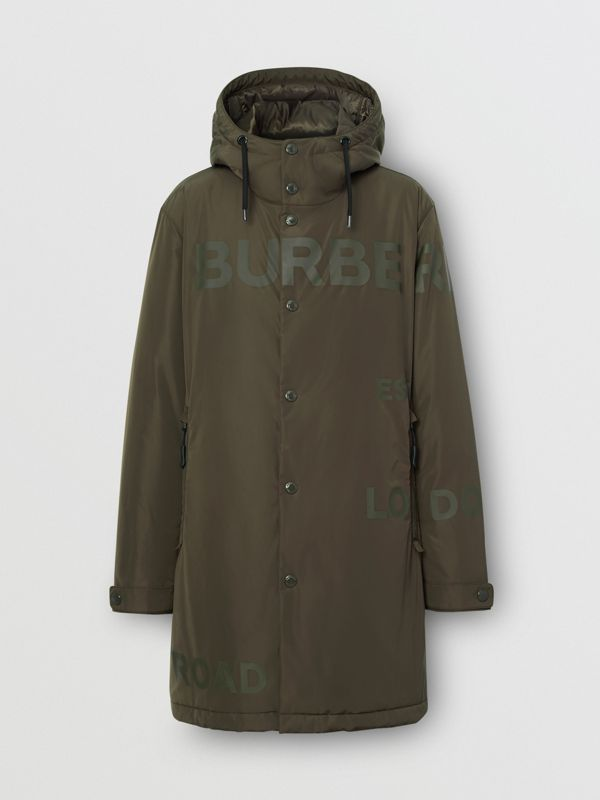 Horseferry Print Shape-memory Taffeta Hooded Coat in Khaki - Men | Burberry - cell image 3