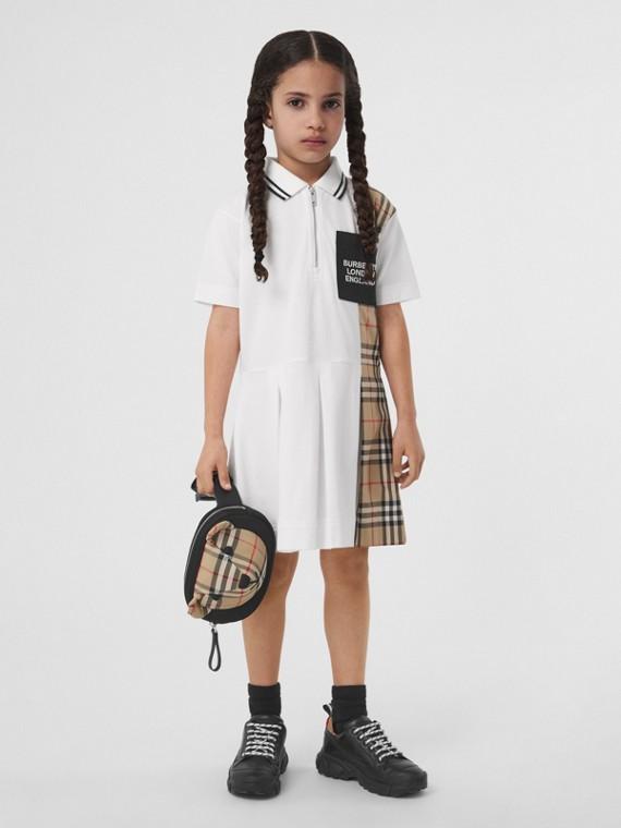 Vintage 格紋裁片棉質珠地網眼 Polo 衫式洋裝 (白色)