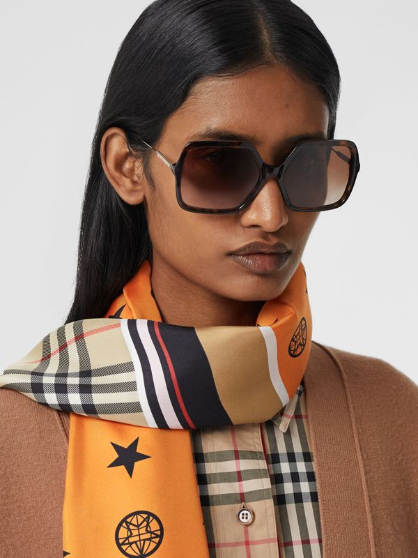 Montage Print Silk Scarf in Alabaster Pink | Burberry - cell image 2